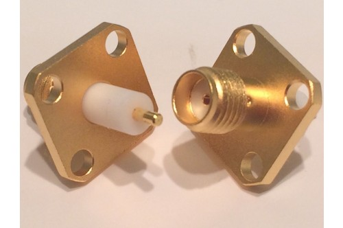 4 HOLE CHASSIS MOUNT GOLD PLATED SMA FEMALE