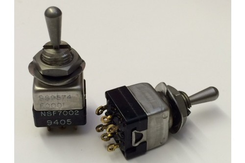 MINI PANEL DOUBLE POLE SPRUNG BIAS CENTER OFF TOGGLE SWITCH