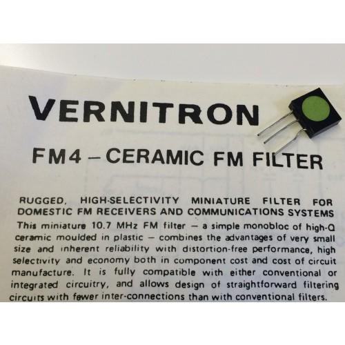 Vernitron Fm4 Vintage 10 7mhz Ceramic Filter Amp Data Blb114