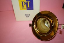 GU10 MAINS 240V BRASS TILT LIGHT FITTING