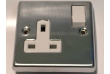 SATIN CHROME CRABTREE SINGLE SWITCH 13A SOCKET